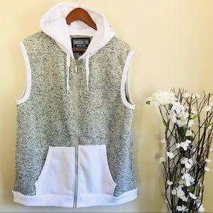 Brooklyn Xpress Women's Gray/White Hoodie Vest